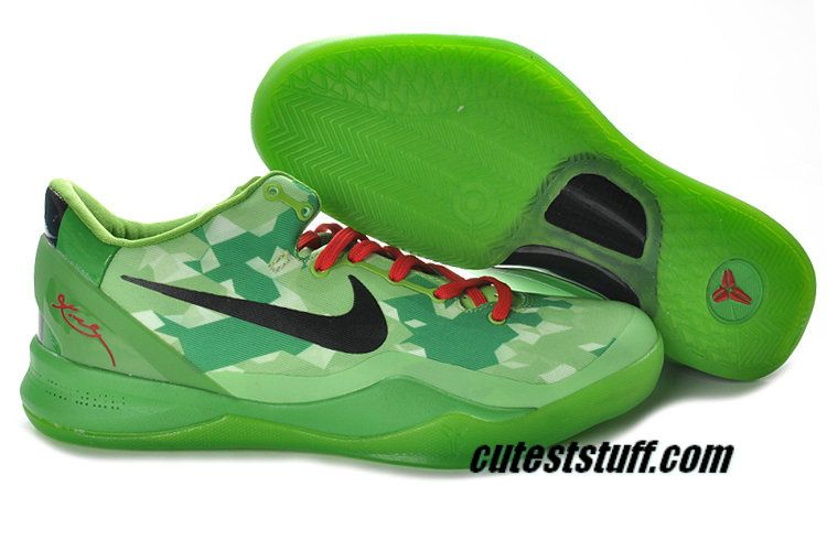 save off 90977 534cc Basketball Shoes Kobe 8 Elite Christmas Grinch Green Red Black 555035 701