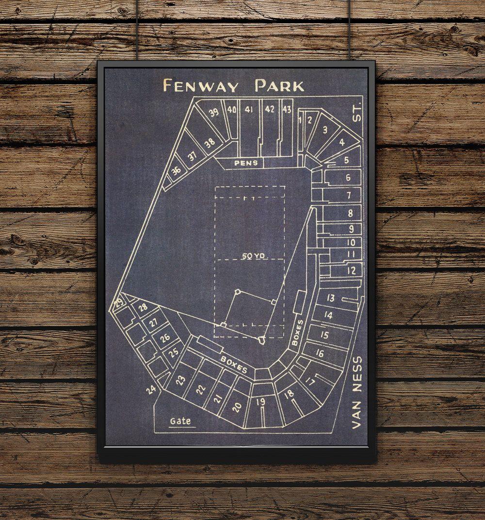 Fenway park blueprint for the baseball mancave my place fenway park blueprint for the baseball mancave malvernweather Choice Image
