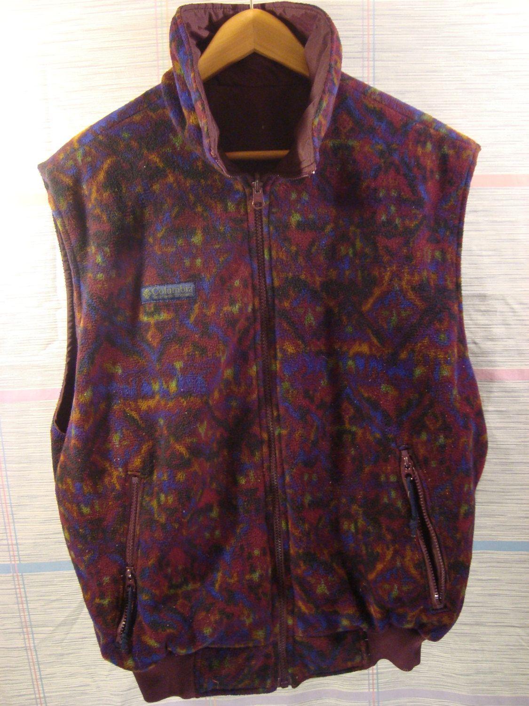 Vintage s columbia reversible vest fleece nylon s fleece aztec