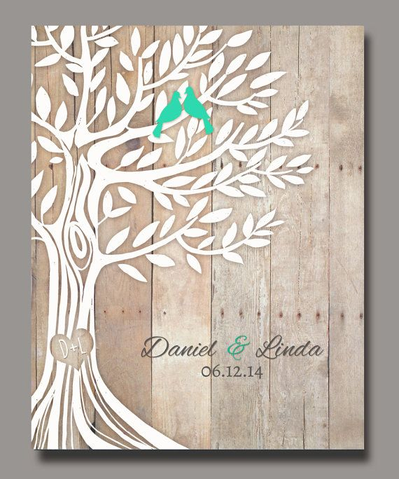 Engagement Wedding Gift, Love Birds in Tree, Newly Weds Gift Family Tree Art, Names Wedding Date, Poster 8,5''x11'' #personalizedwedding