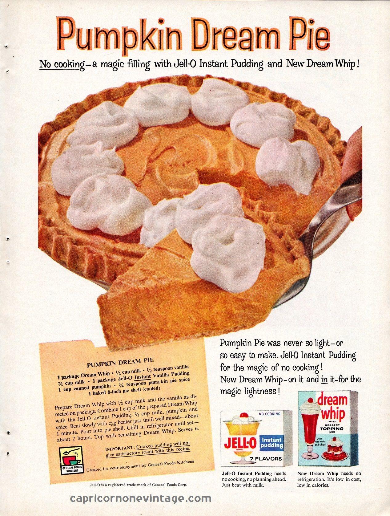 vintage 1959 jello dream whip magazine ad pumpkin dream pie recipe vintage 1959 jello dream whip magazine ad pumpkin dream pie recipe mid century advertising retro kitchen