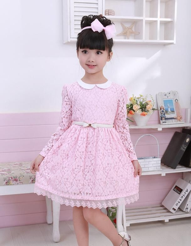 T176 Beautiful Cute Baby Girl Dress Lace Flowers Long Sleeve ...