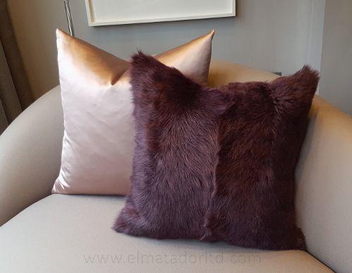 Toscana Lamb Cushion in Burgundy colour. Size 50cm x 50cm.