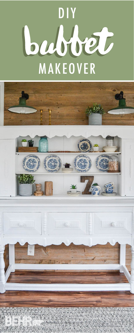 This DIY buffet makeover from Lindsay, of My Creative Days, is a great way to add storage and style to your home. Lindsay painted her old wooden buffet a bright shade of Ultra Pure White to give it a fresh new look. Then, Lindsay used potted plants and decorative pottery to add splashes of color to her remodeled furniture piece.