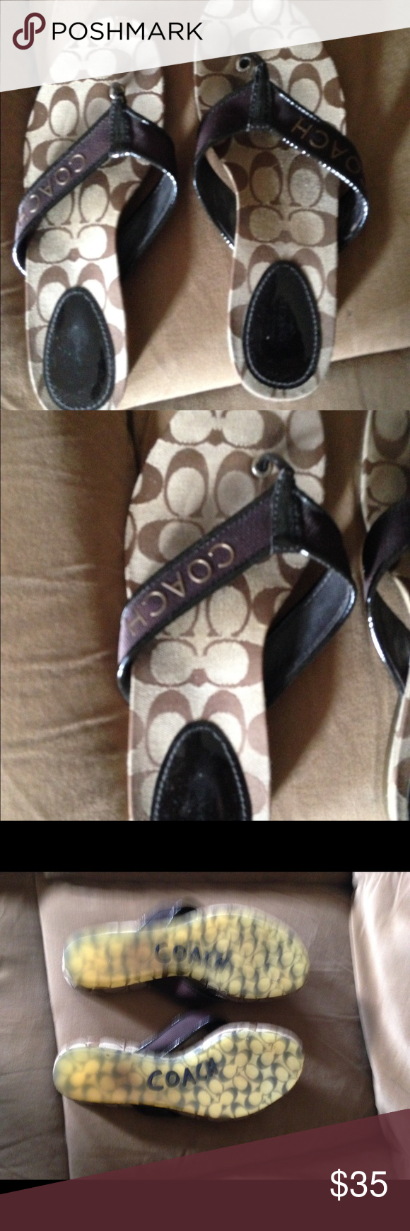 Coach flip flops Brown and tan, pre-loved Coach Shoes Sandals