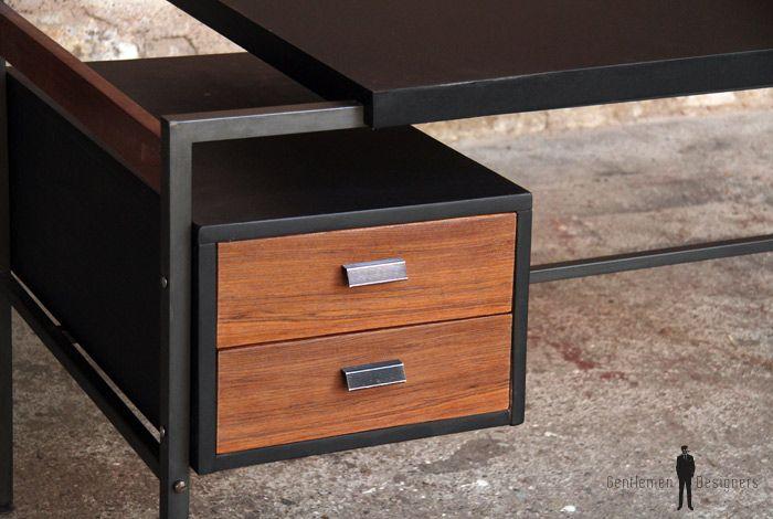Bureau vintage noir et tiroir en teck gentlemen designers mobilier