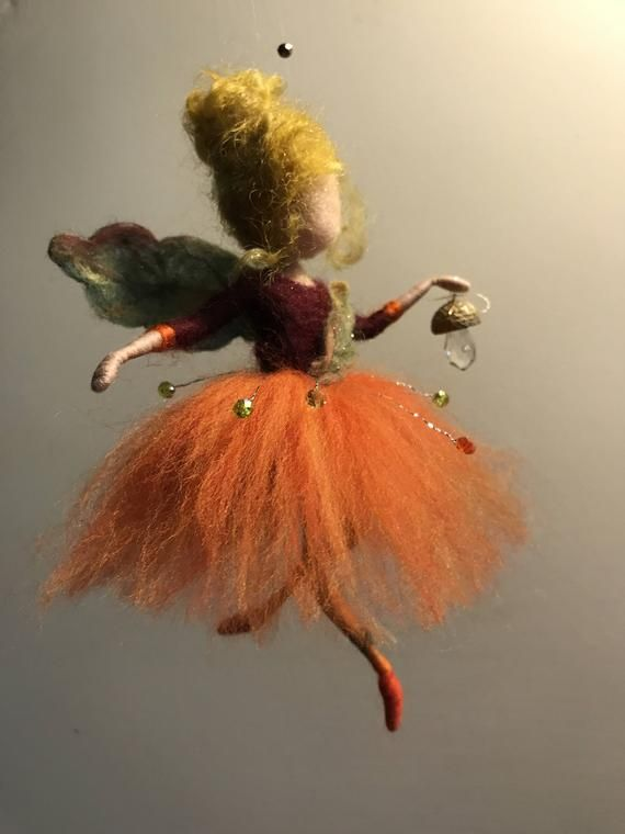 Needle felted fairy, Waldorf inspired,Wool orange fairy,Four seasons,Autumn,Home decor, Art doll, Mobile, Doll miniature, Gift,Children room