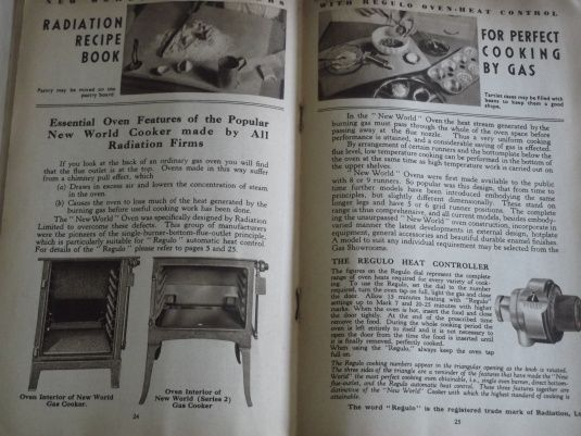 """The Radiation Cookbook (c. 1933) looks at how to cook with modern """"New World"""" gas cookers, issued by a company called Radiation Limited. The construction of the cooker looks very like our modern cookers, with burners, taps, and a griller."""