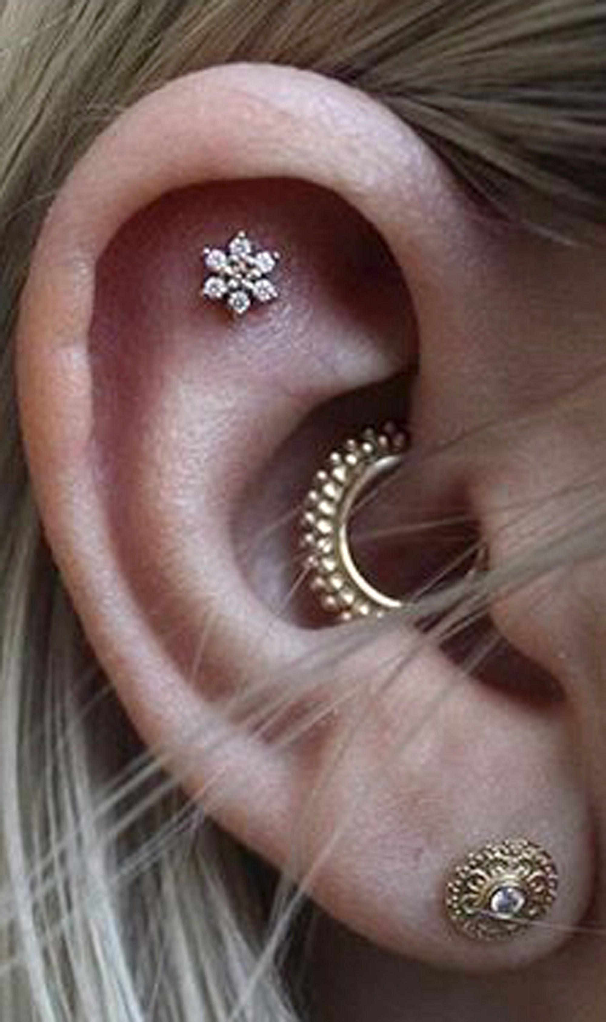 Cute Ear Piercing Ideas For Women Flower Cartilage Earring Stud Gold Daith Hoop