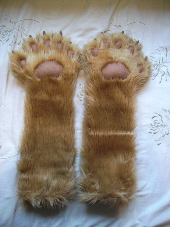 One Pair of Luxury Caramel Shag Lion Paw Gloves Elbow Length with Brown Felt Pads and & One Pair of Luxury Caramel Shag Lion Paw Gloves Elbow Length with ...