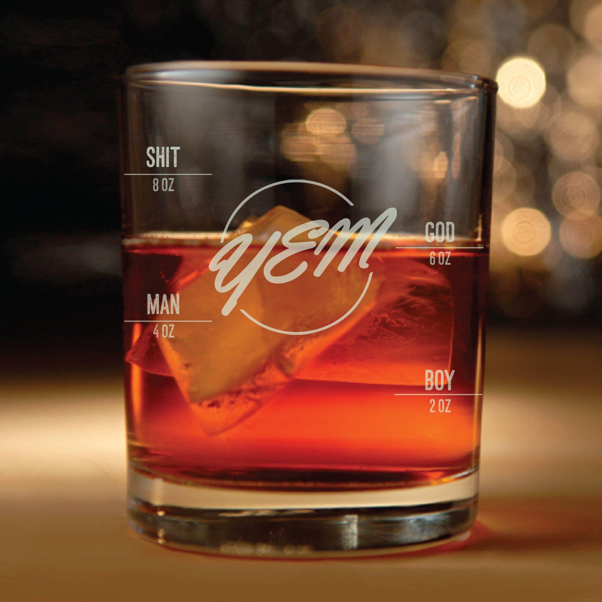 phish inspired rocks glass with measuring line yem lyrics engraved