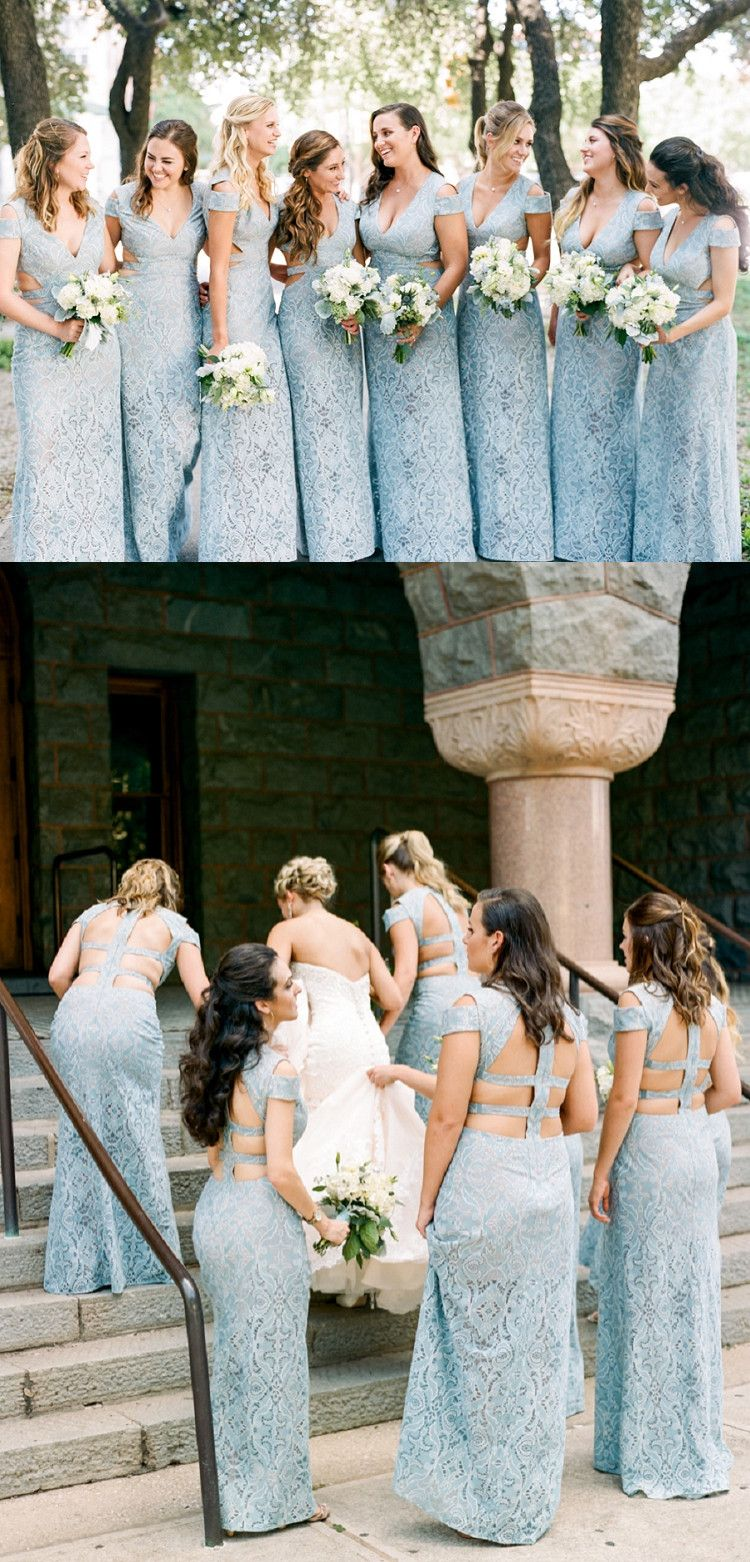 New arrival deep vneck baby blue lace bridesmaid dresses for