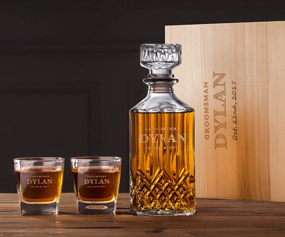 Groomsmen Gift Personalized Whiskey Decanter Set Best Groomsmen Gifts Whiskey Decanter Groomsmen Gifts Unique