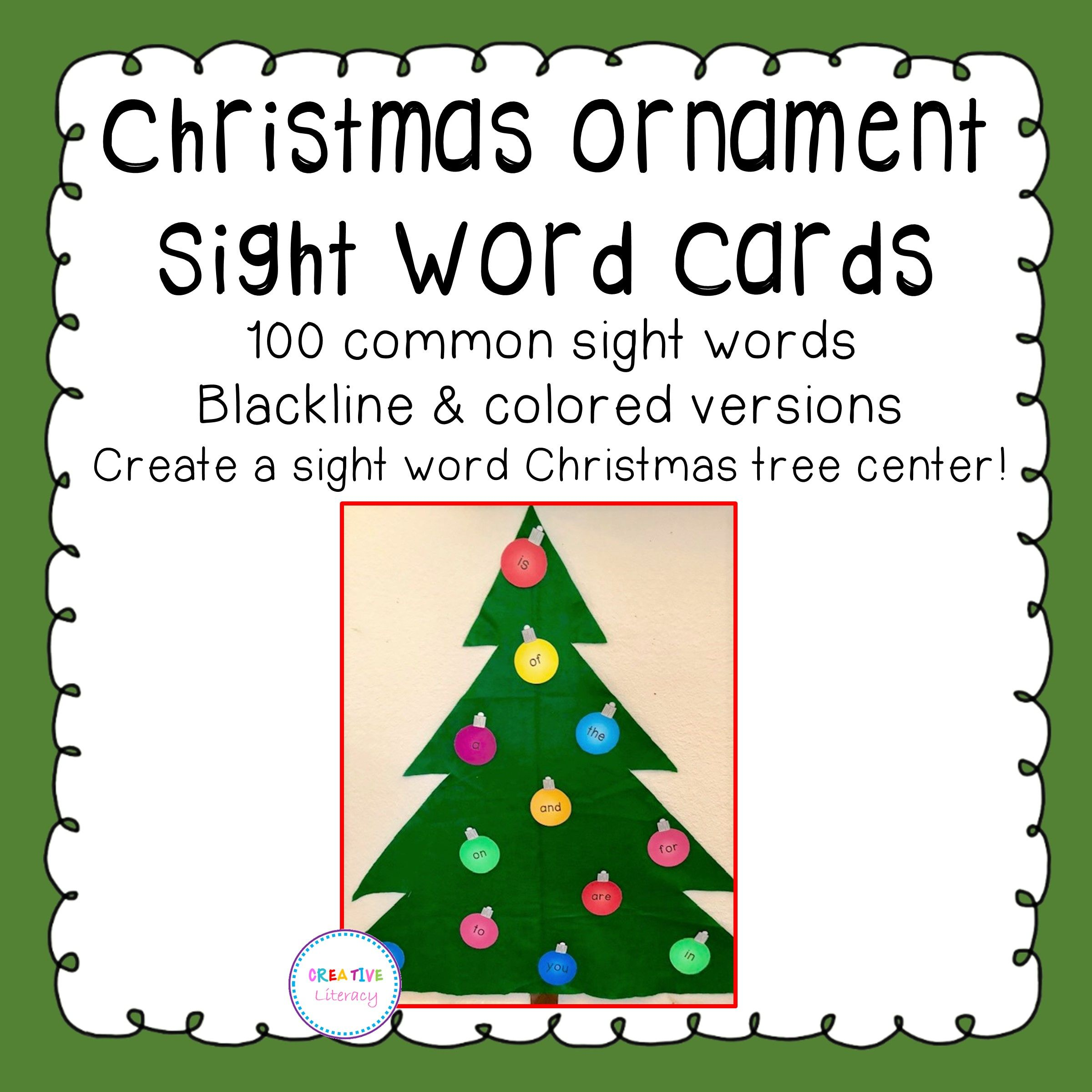 Christmas Tree Sight Word Cards From Creative Literacy