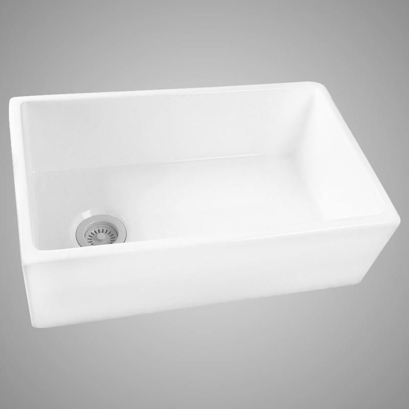 30 Hempstead Fireclay Reversible Single Bowl Farmhouse Sink With Offset Drain Modern Kitchen Sinks Sink Farmhouse Sink Kitchen