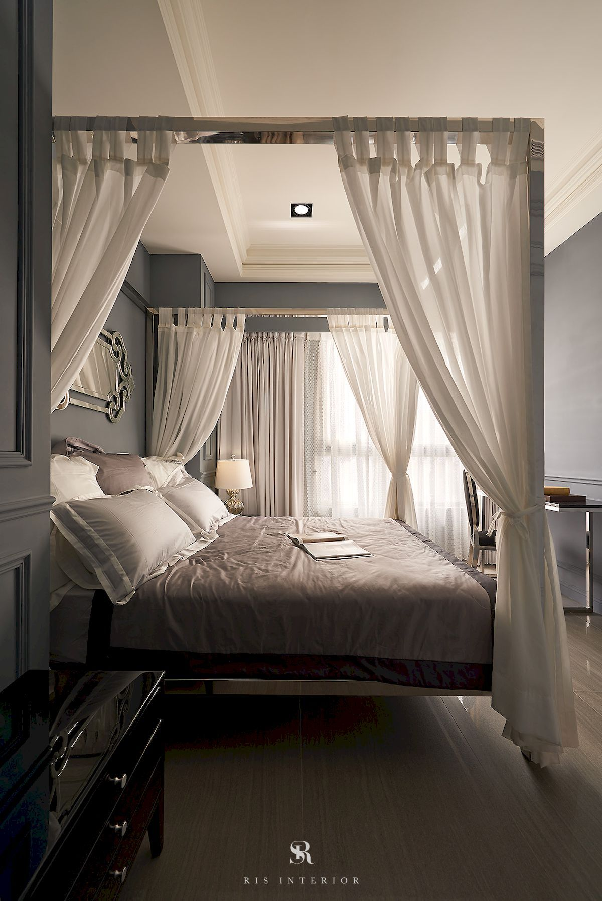 Styles French American Luxury Colors Slate Grayish Blue Features Pole Bed Venetian Mirror Dec Apartment Projects Mirror Decor Interior Design Projects