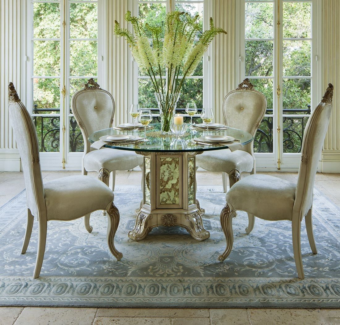 Aico Platine De Royale 54 Round Glass Top Dining Table In
