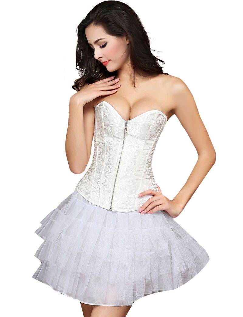 Girdle for wedding dress  Womens Zipper Front Corset Wedding Waist Corset Sexy Bustiers Top