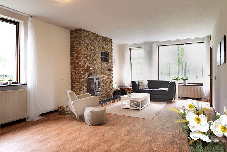 Woonkamer wanden en plafond gesausd en alle meubels en accessoires ...