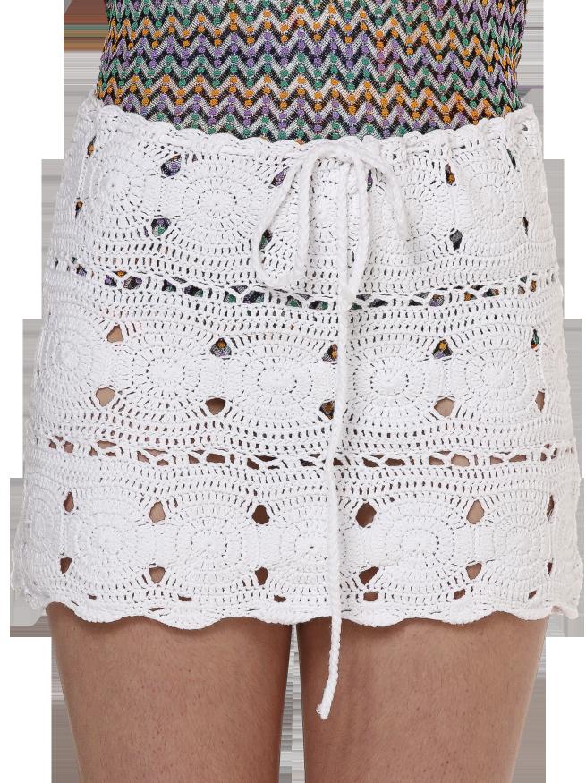 White crochet mini skirt with drawstring waist Crochet