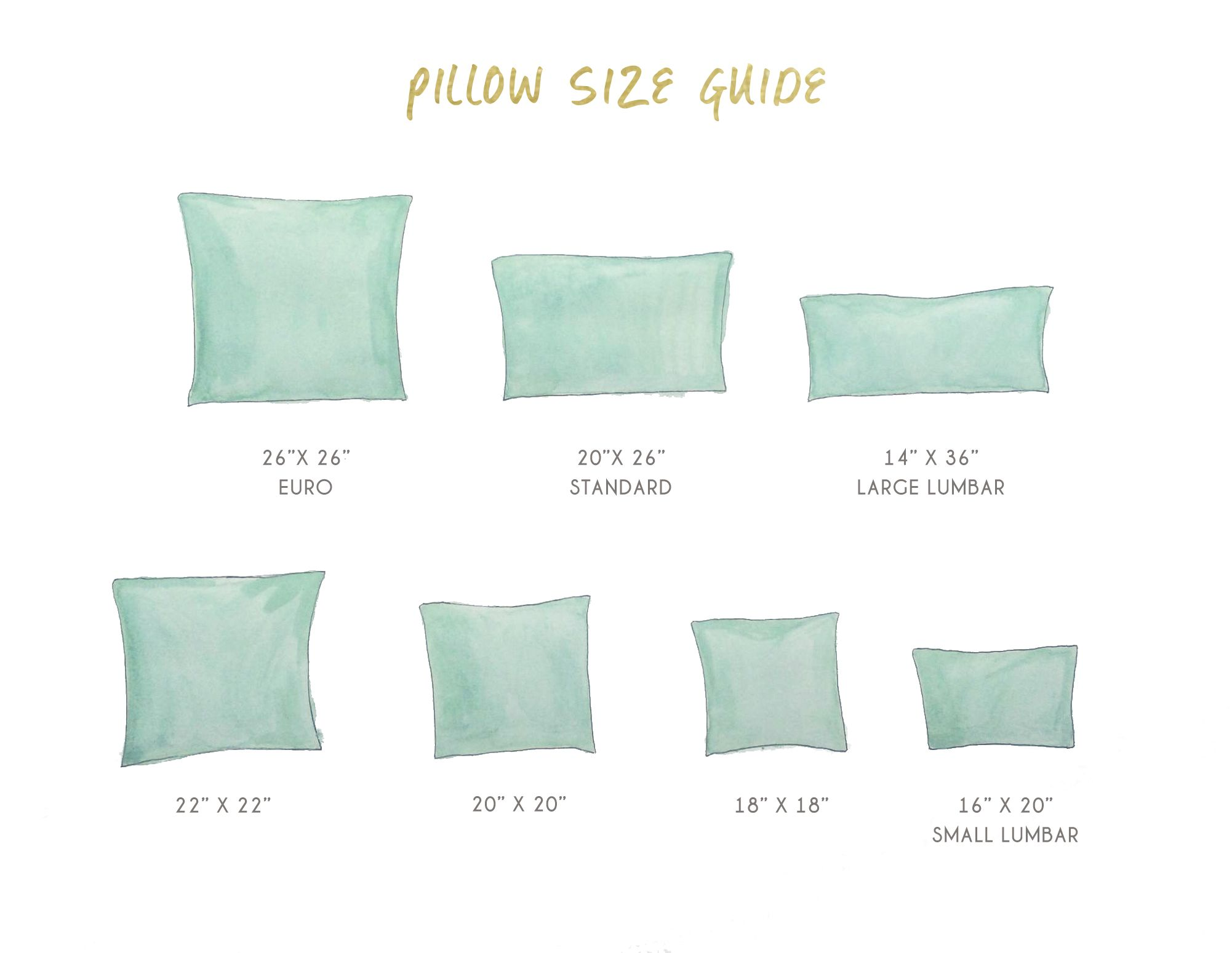 Pillow Sizes Google Search