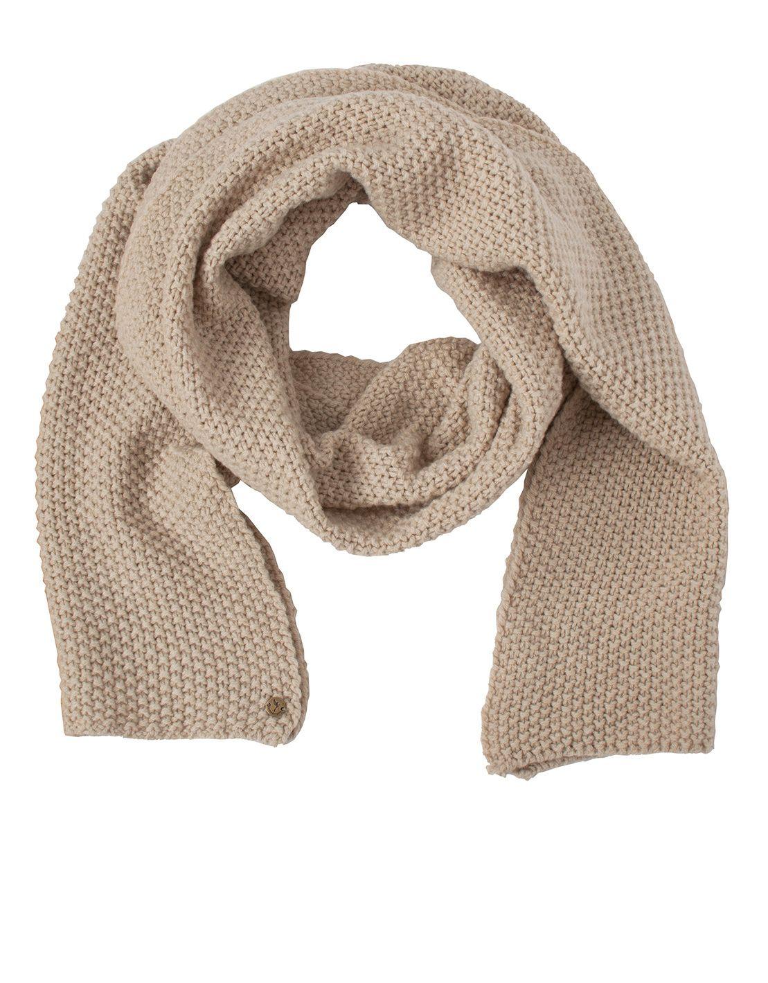 """Armedangels zeigt den Wollschal """"Del"""" in der Farbe Creme. Der Schal hält garantiert warm und hat durch die dezente Farbe den Vorteil zu fast allem kombinierbar zu sein."""