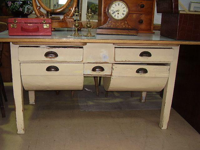 Antique Flour Bin Table Huon Pine Bakers Table Flour