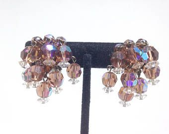 Vintage Estate High End Purple Ab Gl Dangle Gorgeous Clip Earrings