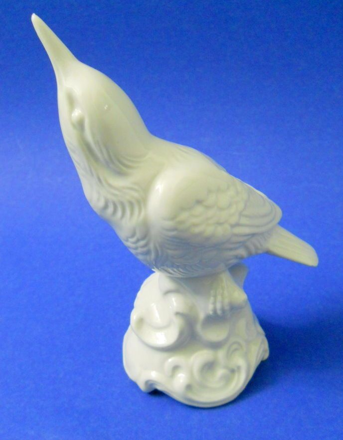 Dresden Porcelain Bird Figurine Vntg Late 1960 S 72 White Looking Up Standing