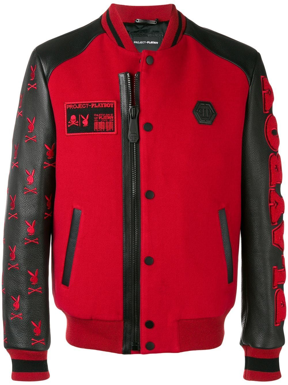 PHILIPP PLEIN PHILIPP PLEIN X PLAYBOY LOGO BOMBER JACKET - RED.   philippplein  cloth 4a9390d835b