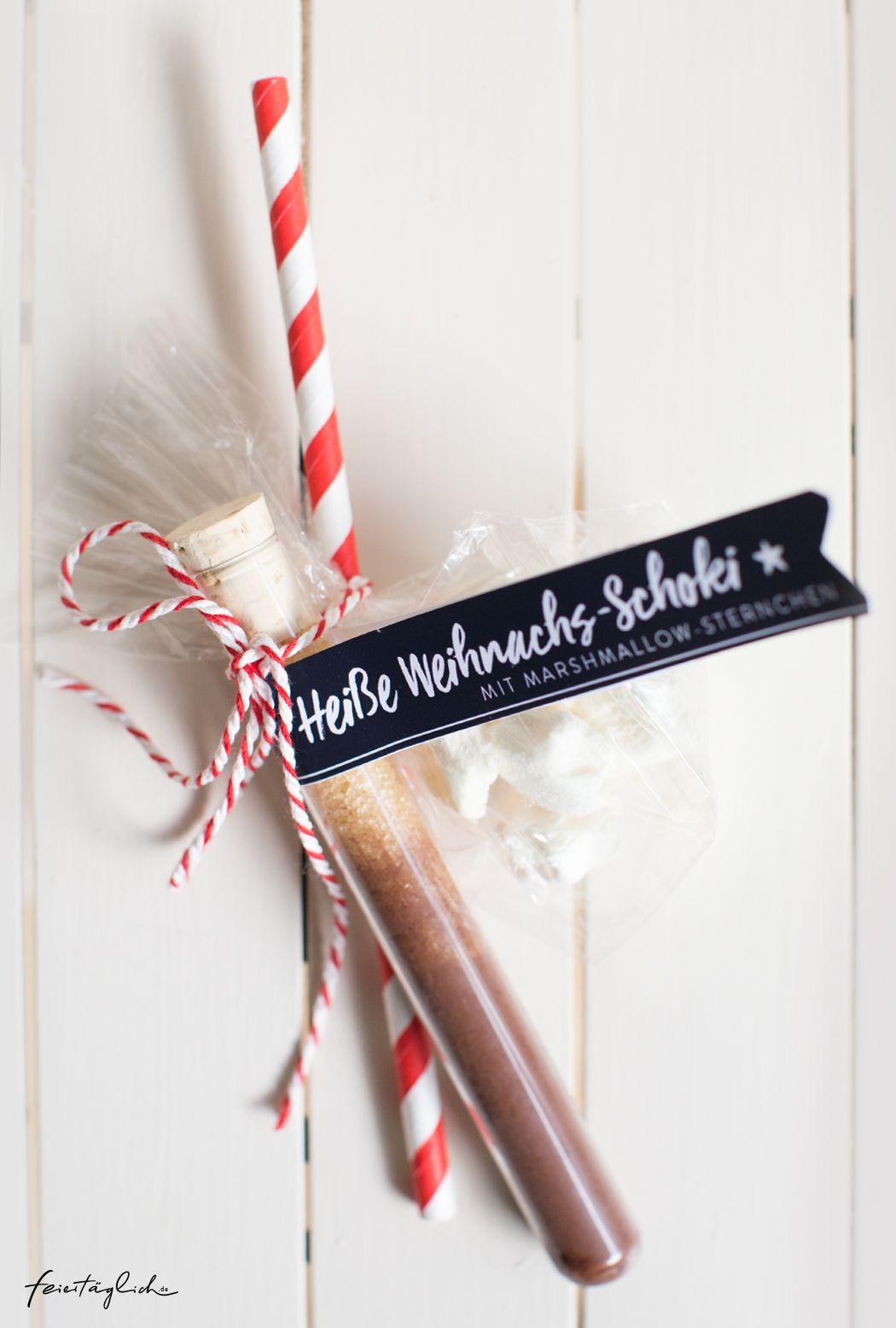 Geschenke aus der Küche: Heiße Weihnachts-Schokolade mit Marshmallow-Sternchen & Free-printable-Labels zum Ausdrucken – feiertäglich…das schöne Leben #weihnachtsgeschenkideen