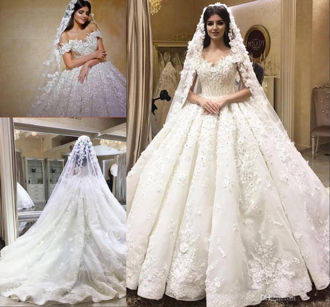 Arabic Dubai 2019 Beaded Lace Ball Gown Wedding Dresses 3d Floral