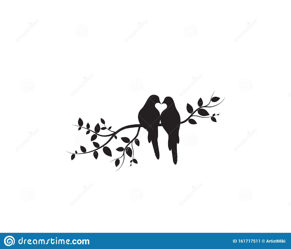 Birds On Branch Vector Wall Decals Birds Couple In Love Birds Silhouette On Tree And Hearts Illustrations Bird Silhouette Silhouette Art Heart Illustration