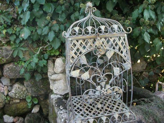 Vintage METAL BIRD CAGE, Storage, Patio, Garden Decor
