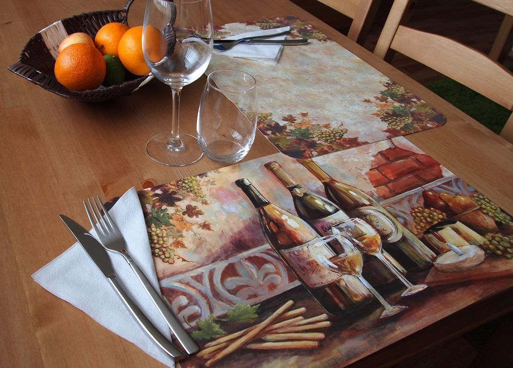 CounterArt Reversible Extra Large Table Placemats U201cTuscan Pinotu201d  Set Of 4