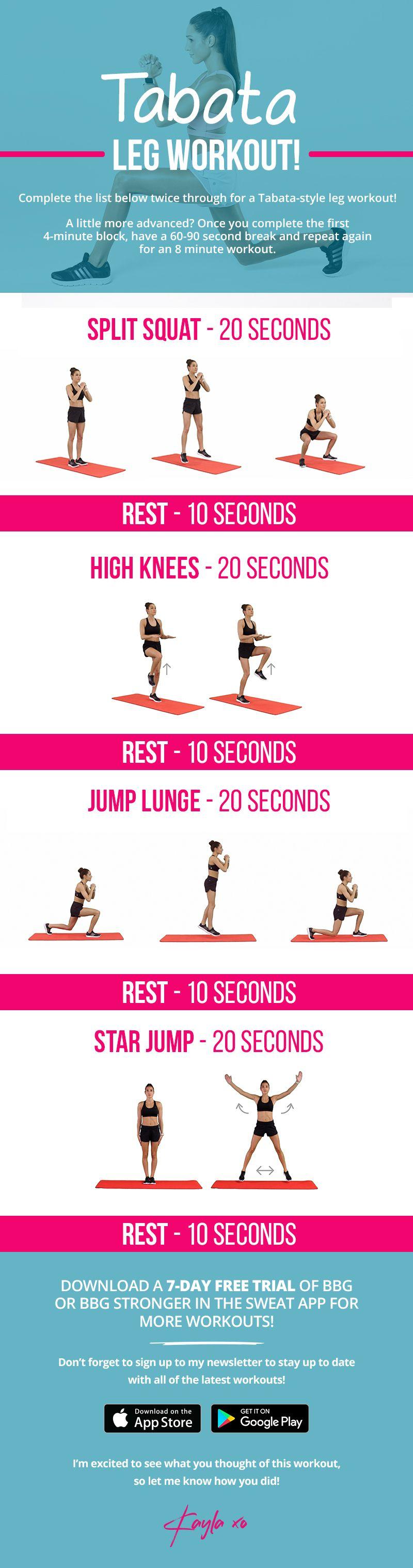 Tabata leg workout by Kayla Itsines