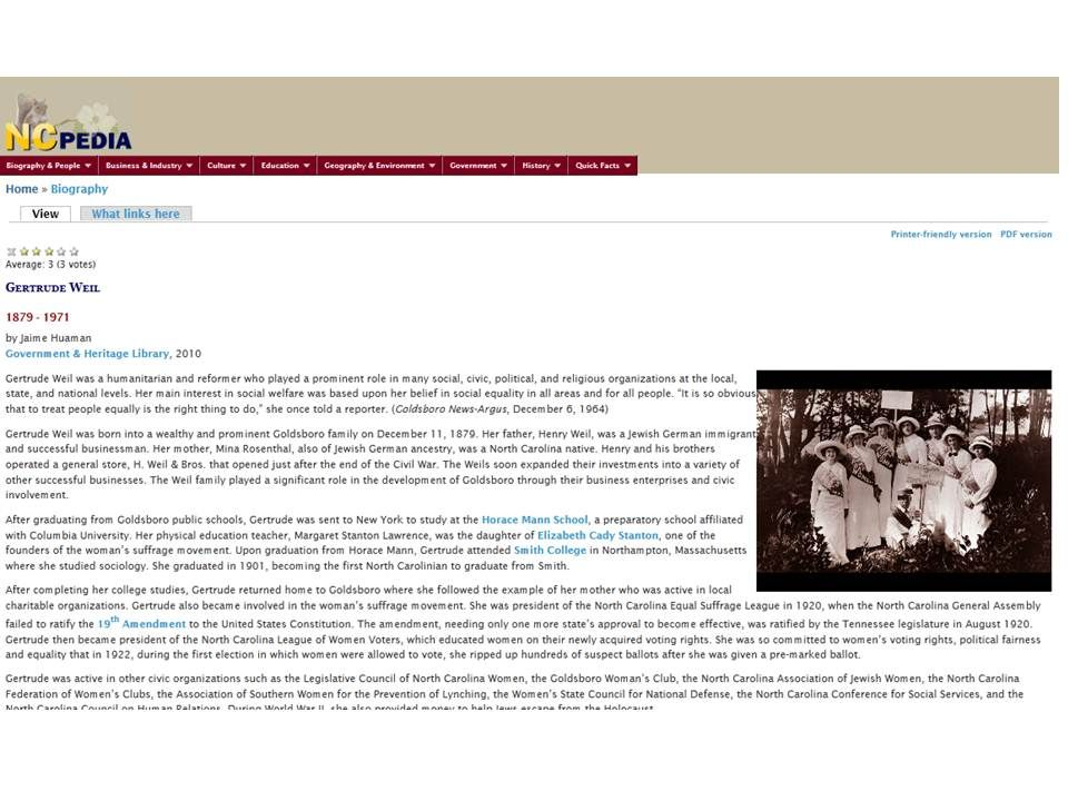 NCpedia entry on Gertrude Weil Online Portfolio/Resume of Jaime - resume library
