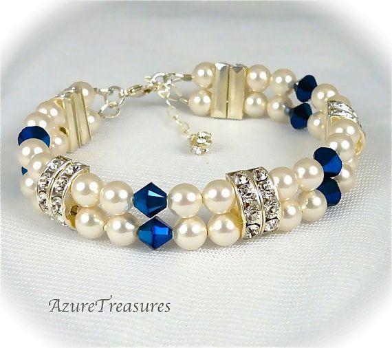 Wedding Pearl Bracelet Sapphire Blue Bracelet by AzureTreasures, $48.00