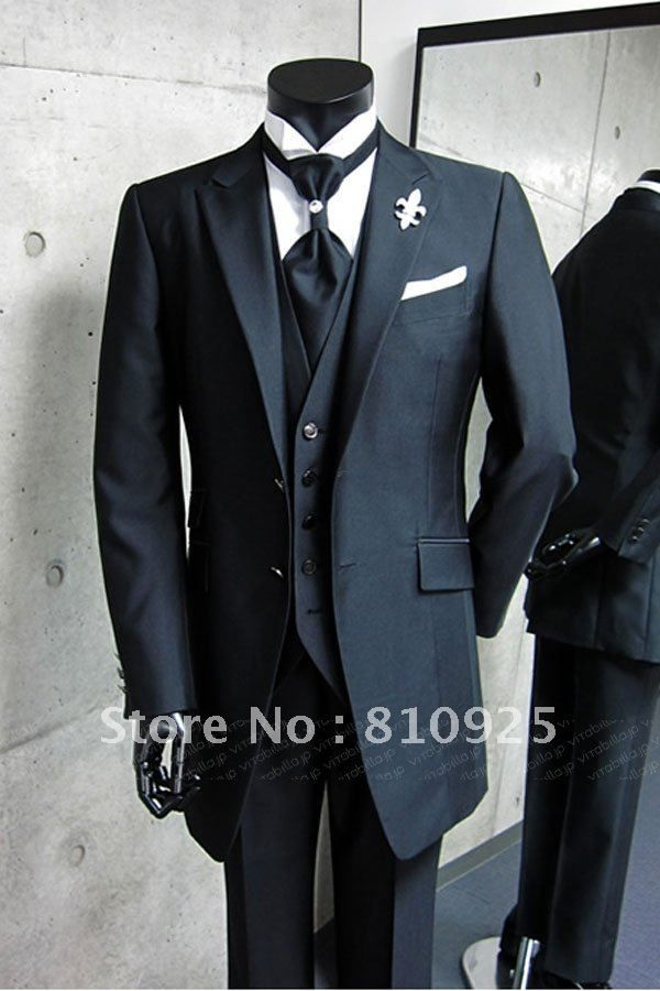 bespoke suit black!custom made groom wedding for men dinner,3 ...