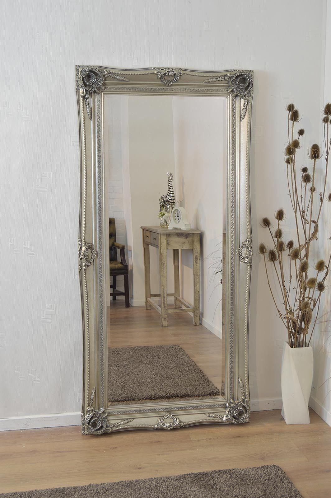Large Silver Ornate Antique Shabby Chic Wall Mirror 6ft X