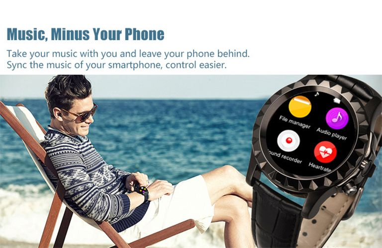 No.1 Sun S2 Circular Dial Smart Watch Brown Genuine Leather Band Heart Rate Monitor Tracker for IOS/Android