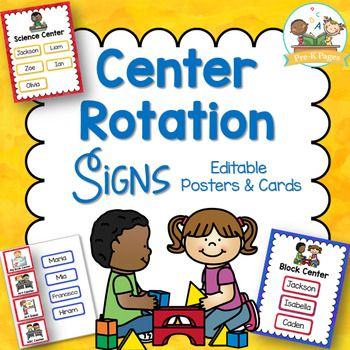 Center Management Signs And Cards For Preschool Editable