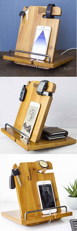 Man Cave Groomsmen Gifts : Personalized wood phone docking station organizer