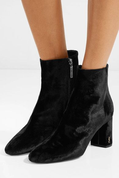 555a7b20ea4 Heel measures approximately 70mm/ 3 inches Black velvet Zip fastening along  side Made in Italy. SAINT LAURENT sleek Loulou velvet ankle boots ...
