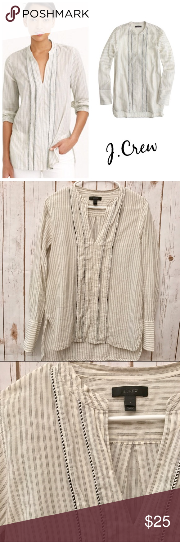 J.Crew Corded Popover Blouse Please excuse the wrinkles. In great preloved condition. A striped tunic in a feminine, floaty cotton that's finished with a corded trim detail is simply perfect for any wardrobe.  Cotton/elastane. Long roll-up sleeves. Front slit. Machine wash. Import. Item C1399. J. Crew Tops Blouses