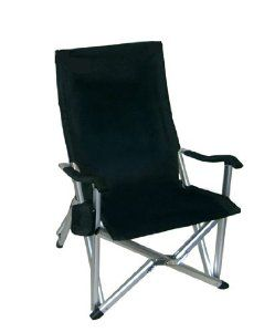 Superbe Deluxe Heavy Duty Folding Lawn Chair   Black