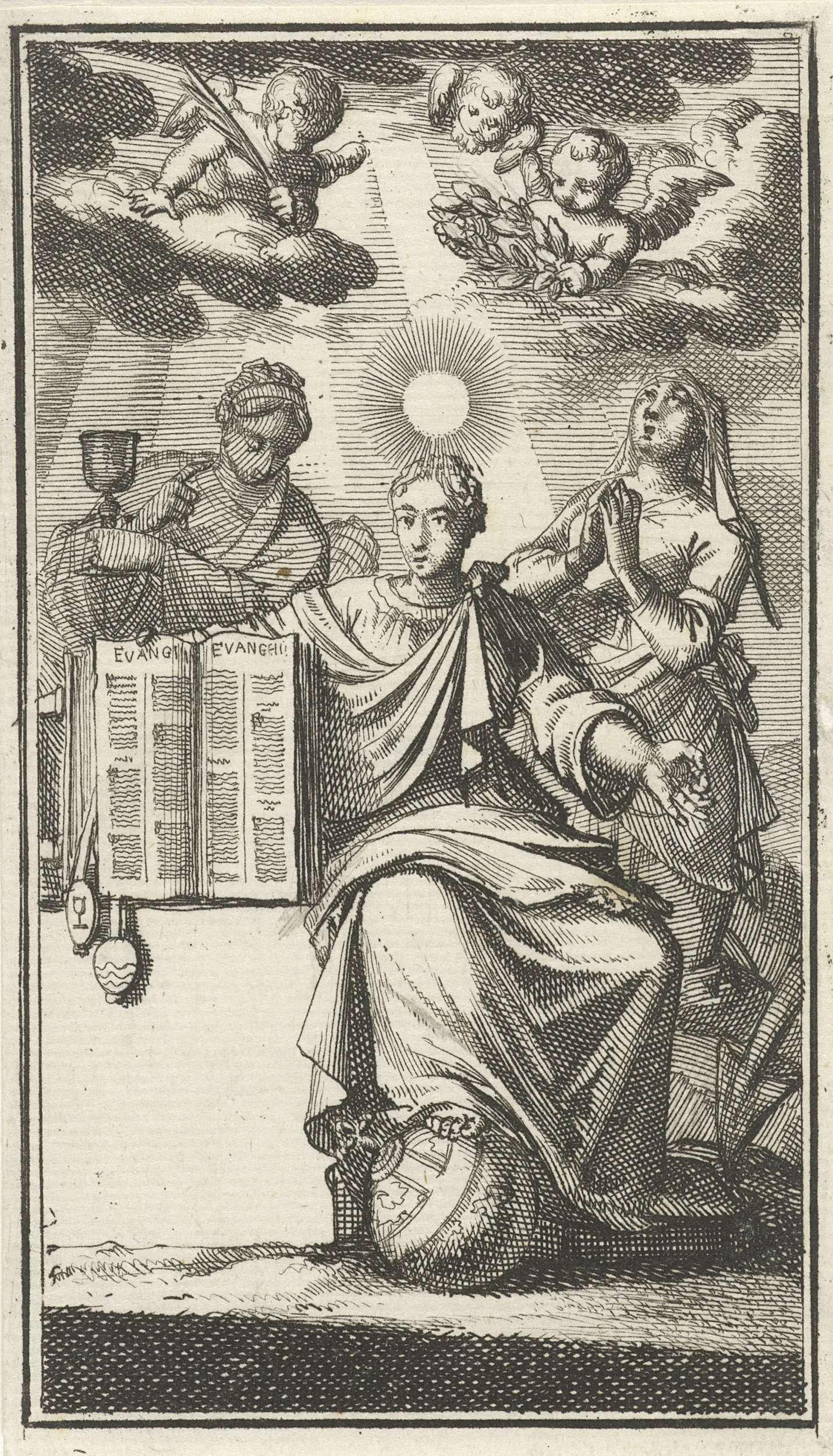 Jan Luyken   Deugd toont, geflankeerd door het Geloof en de Hoop, het evangelie, Jan Luyken, 1693  