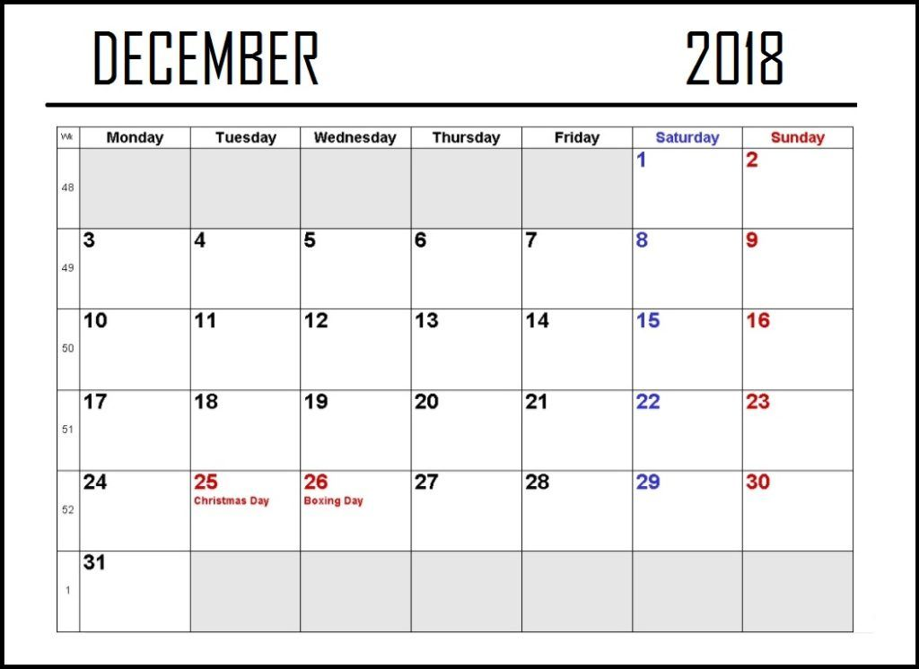 December 2018 Calendar With Holidays Format Pages December 2018