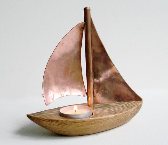 Copper Boat Candle Holder Copper Candle Holder Wooden Candle Holder Nautical Decor Wooden Tea Light Sailing Boat Yacht Candle Holder Artesanias Marinas Artesanias Barcos