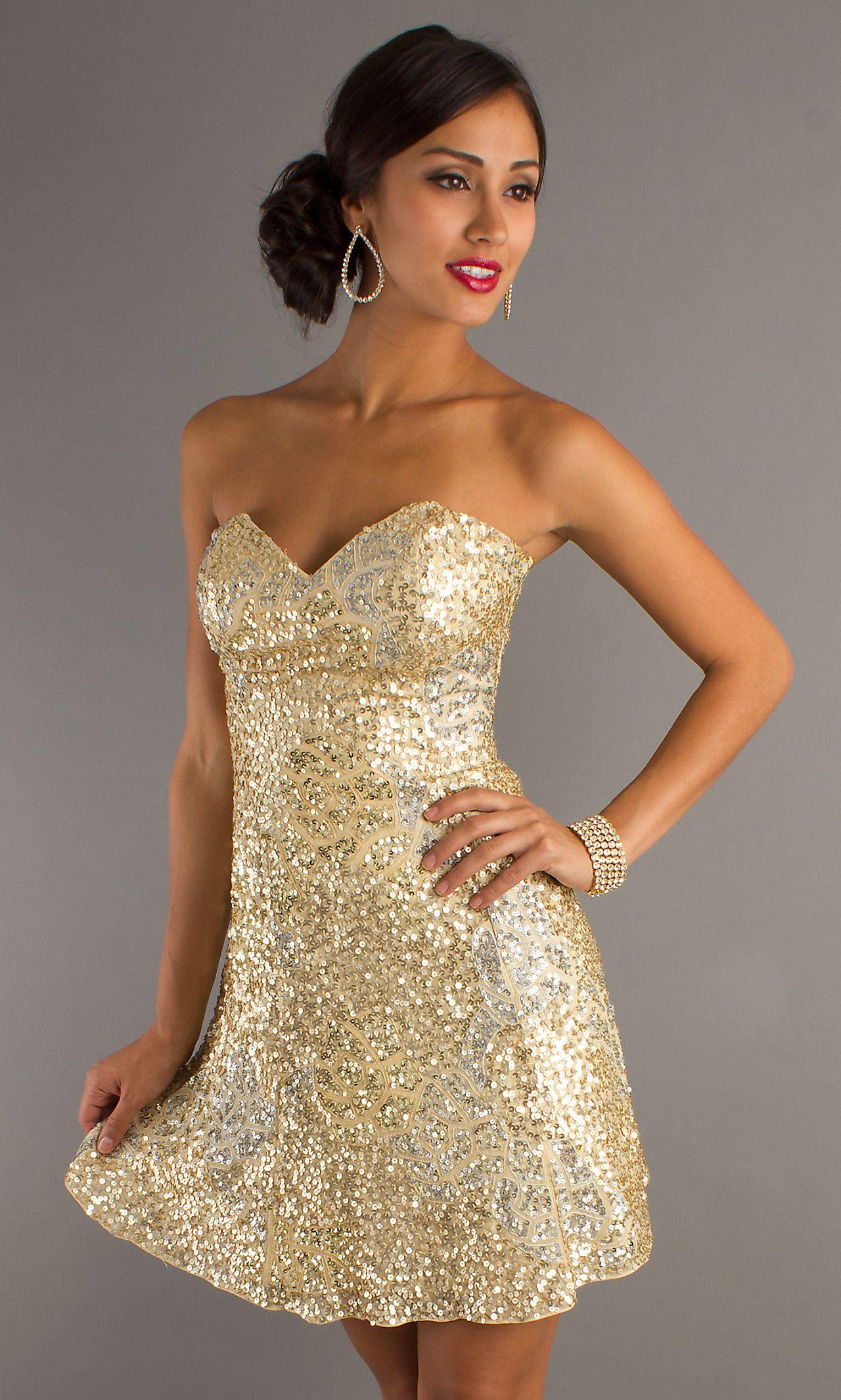 Gold Sequin Strapless Dress | Cocktail Dresses 2016